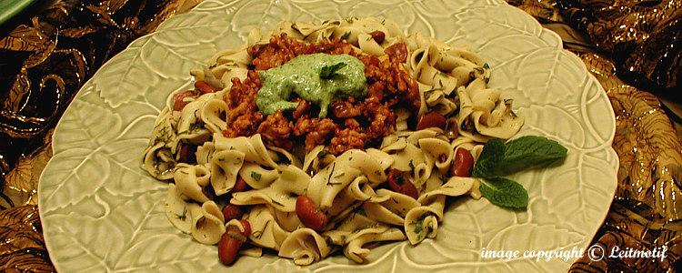 Aghani noodles with lentils, beans, ground meat and yogurt